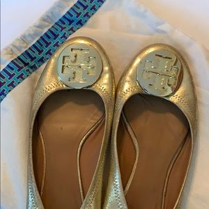 Gold Tory Burch flats with dust bag